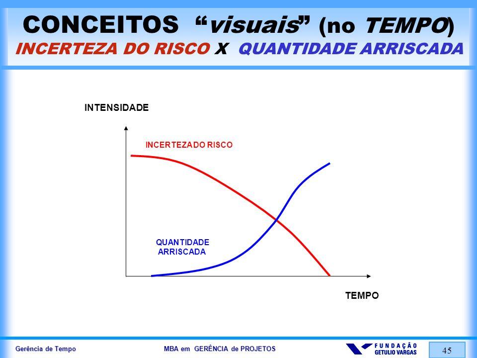 CONCEITOS visuais (no TEMPO) INCERTEZA DO RISCO X QUANTIDADE ARRISCADA