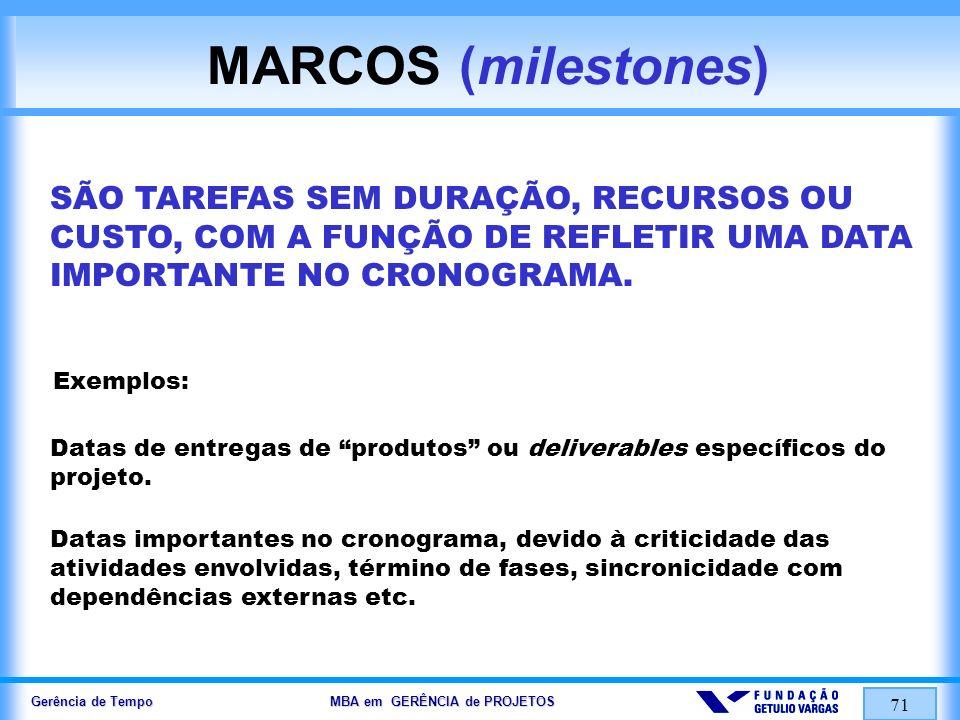 MARCOS (milestones) SÃO TAREFAS SEM DURAÇÃO, RECURSOS OU CUSTO, COM A FUNÇÃO DE REFLETIR UMA DATA IMPORTANTE NO CRONOGRAMA.
