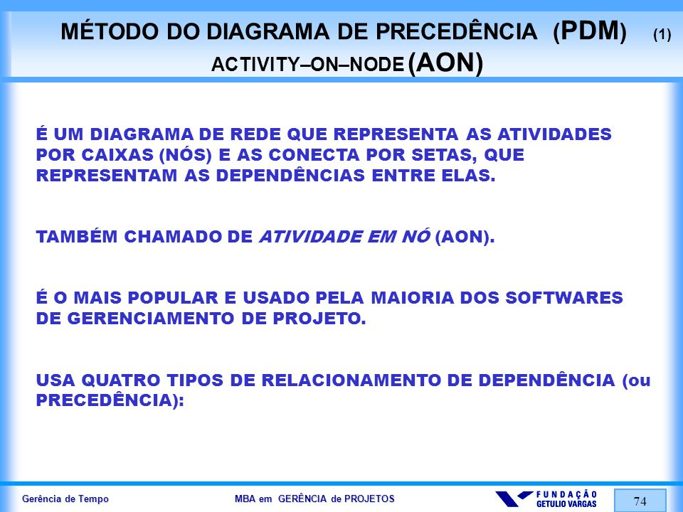 MÉTODO DO DIAGRAMA DE PRECEDÊNCIA (PDM) (1) ACTIVITY–ON–NODE (AON)