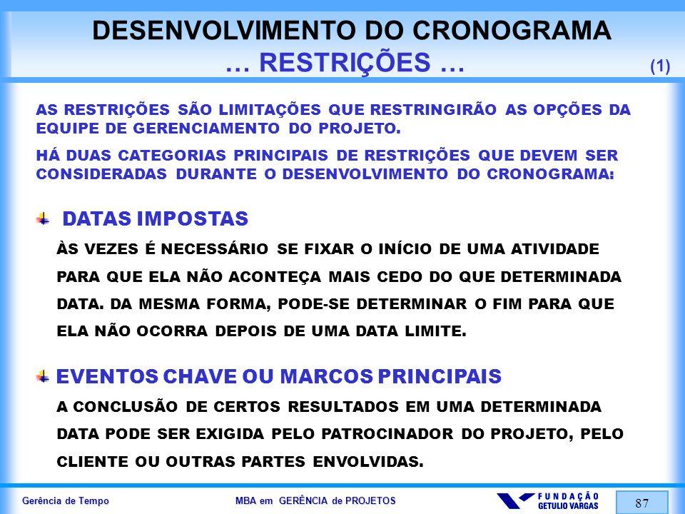 DESENVOLVIMENTO DO CRONOGRAMA … RESTRIÇÕES … (1)