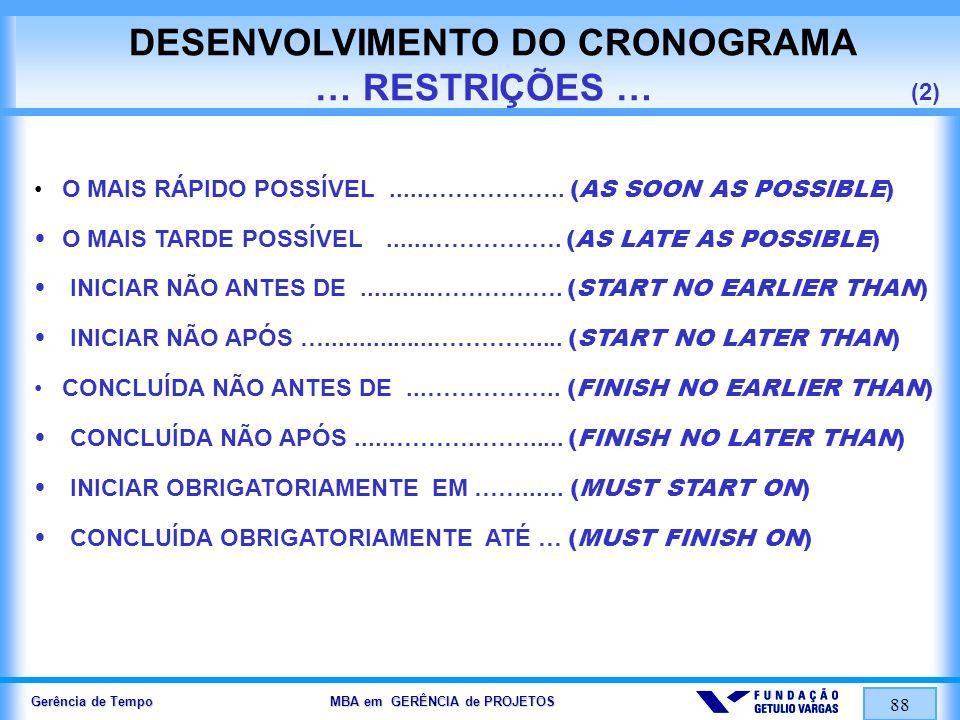 DESENVOLVIMENTO DO CRONOGRAMA … RESTRIÇÕES … (2)