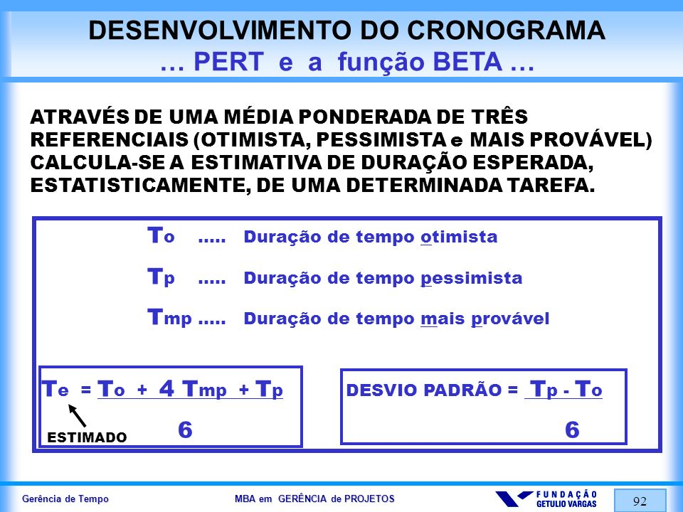 DESENVOLVIMENTO DO CRONOGRAMA … PERT e a função BETA …