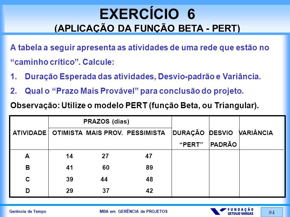 EXERCÍCIO 6 (APLICAÇÃO DA FUNÇÃO BETA - PERT)