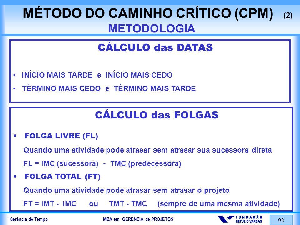 MÉTODO DO CAMINHO CRÍTICO (CPM) (2) METODOLOGIA