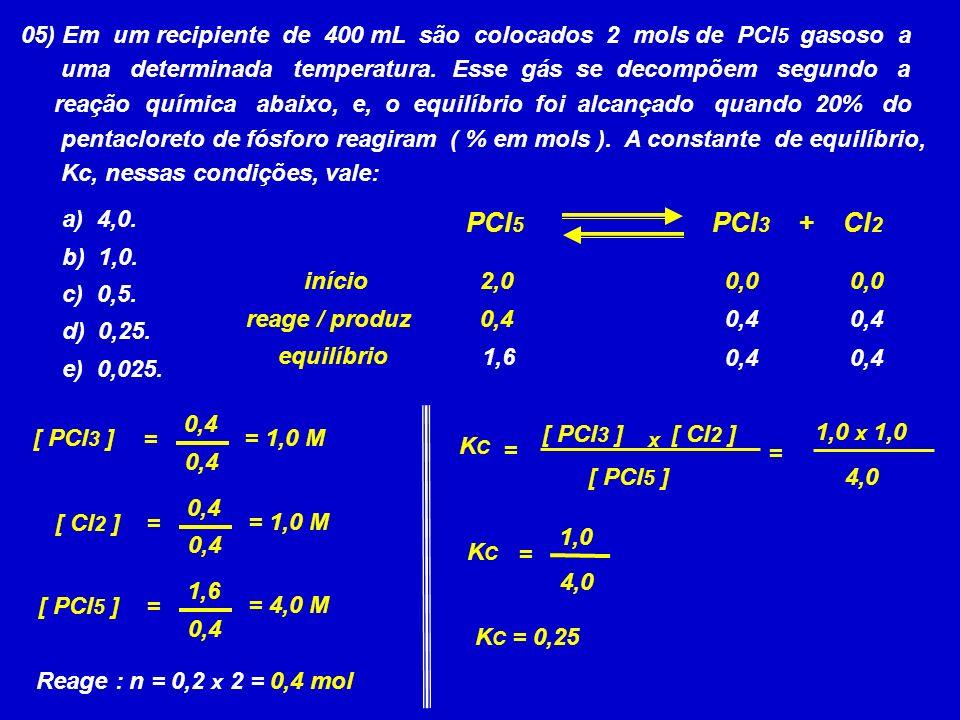 05) Em um recipiente de 400 mL são colocados 2 mols de PCl5 gasoso a
