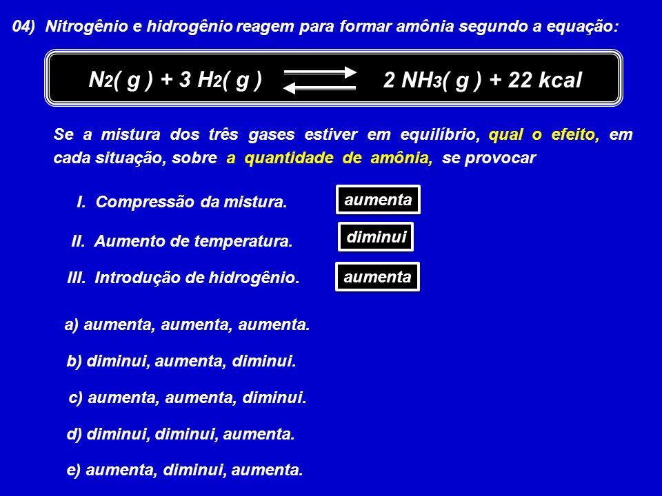 04) Nitrogênio e hidrogênio reagem para formar amônia segundo a equação: