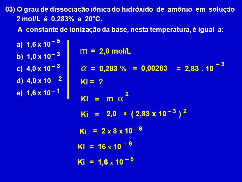 m a a m = = 2,0 mol/L = 0,283 % = 0,00283 = 2,83 . 10 Ki = Ki Ki =