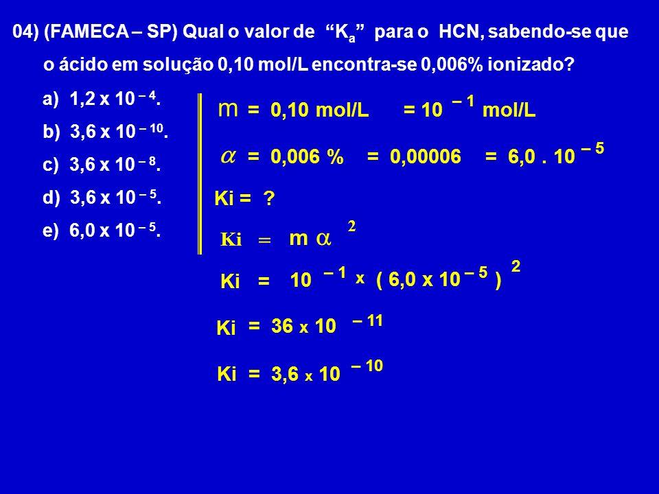 m a a m = = 0,10 mol/L = 10 mol/L = 0,006 % = 0,00006 = 6,0 . 10