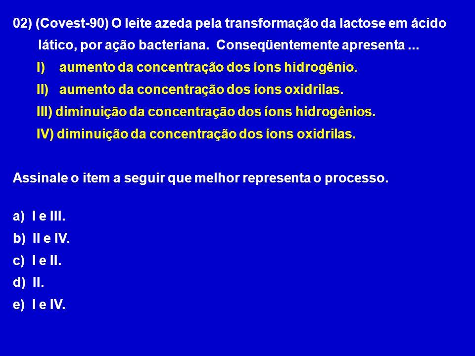 02) (Covest-90) O leite azeda pela transformação da lactose em ácido