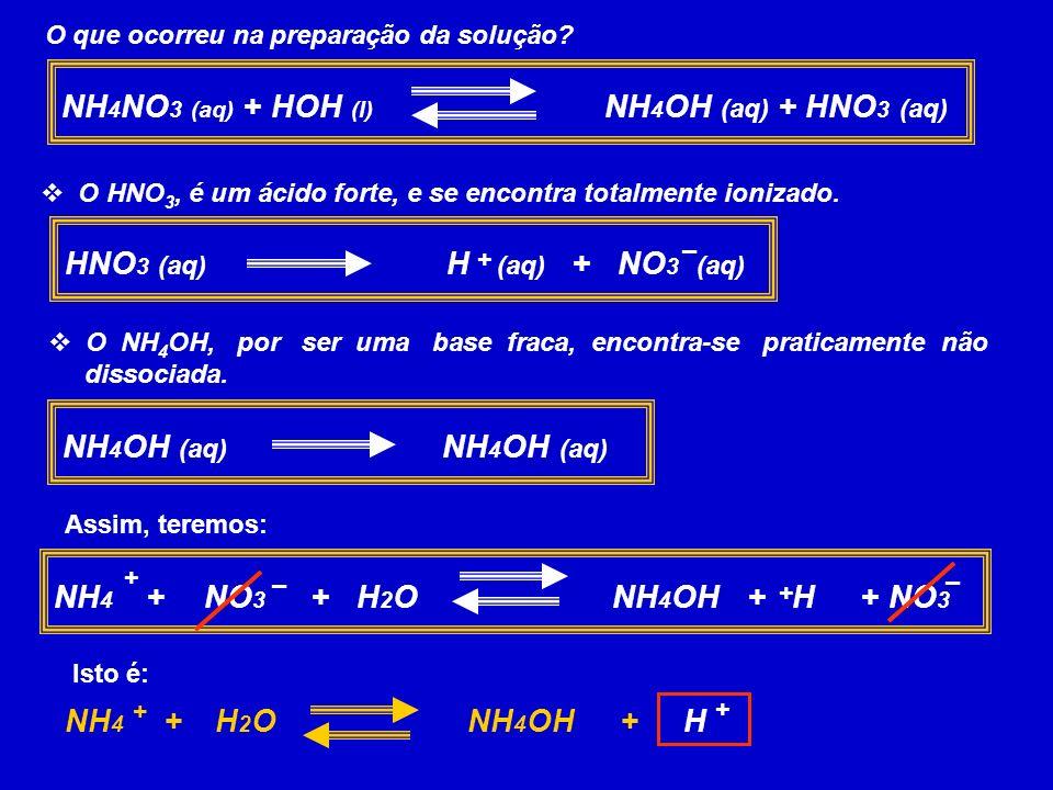 NH4NO3 (aq) + HOH (l) NH4OH (aq) + HNO3 (aq)