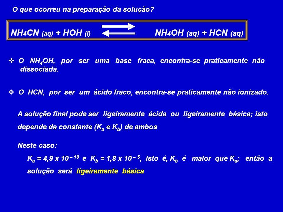 NH4CN (aq) + HOH (l) NH4OH (aq) + HCN (aq)