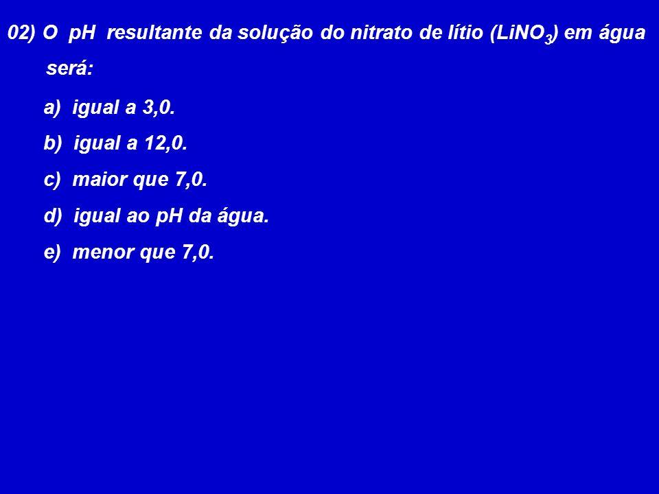02) O pH resultante da solução do nitrato de lítio (LiNO3) em água