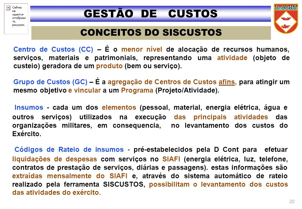 CONCEITOS DO SISCUSTOS