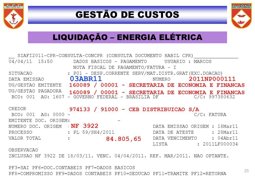 LIQUIDAÇÃO – ENERGIA ELÉTRICA