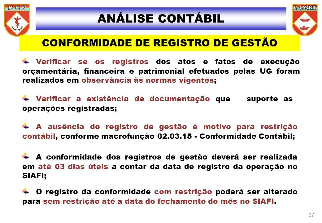 CONFORMIDADE DE REGISTRO DE GESTÃO
