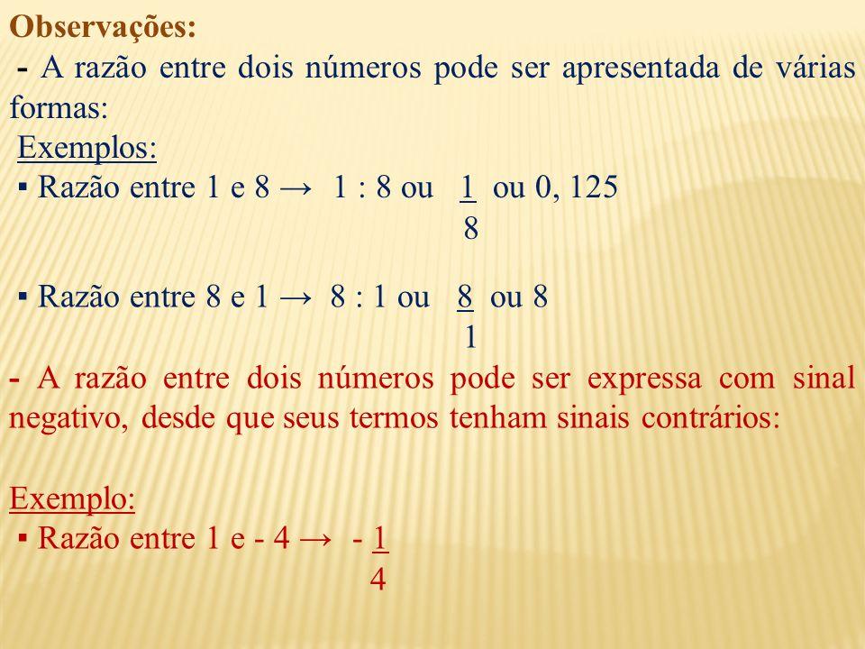 Observações:- A razão entre dois números pode ser apresentada de várias formas: Exemplos: ▪ Razão entre 1 e 8 → 1 : 8 ou 1 ou 0, 125.