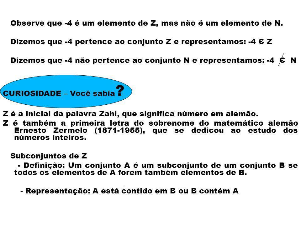 Observe que -4 é um elemento de Z, mas não é um elemento de N.