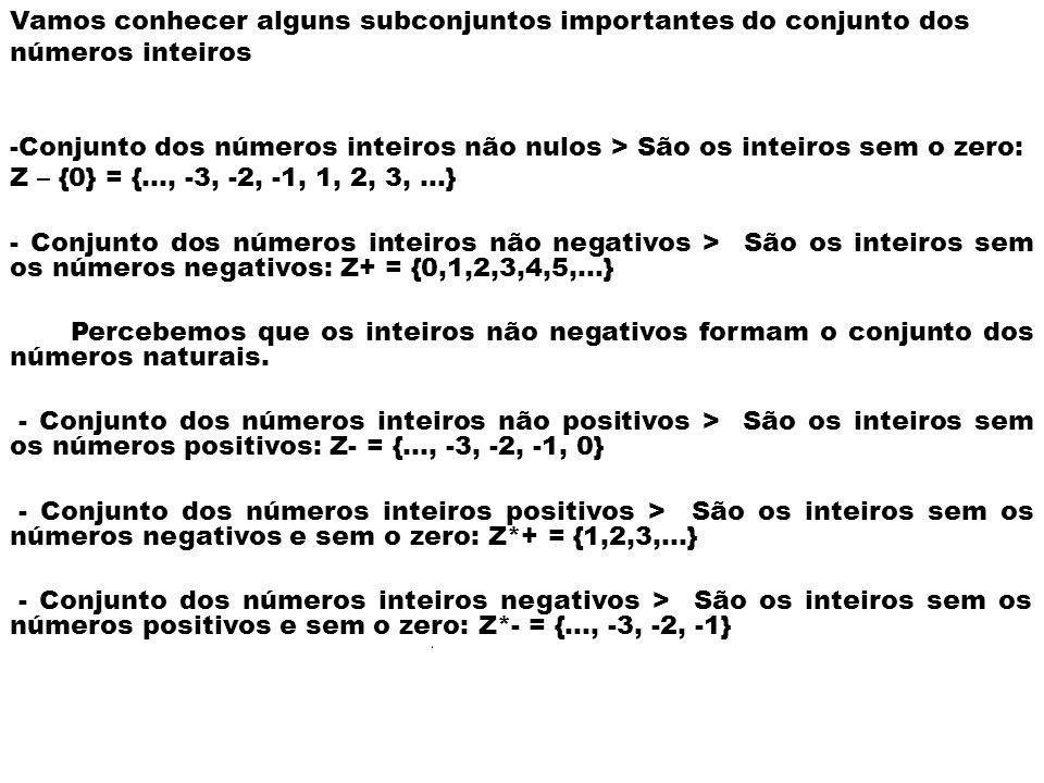 Vamos conhecer alguns subconjuntos importantes do conjunto dos números inteiros