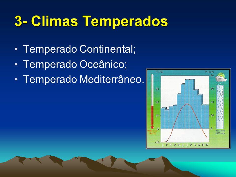 3- Climas Temperados Temperado Continental; Temperado Oceânico;