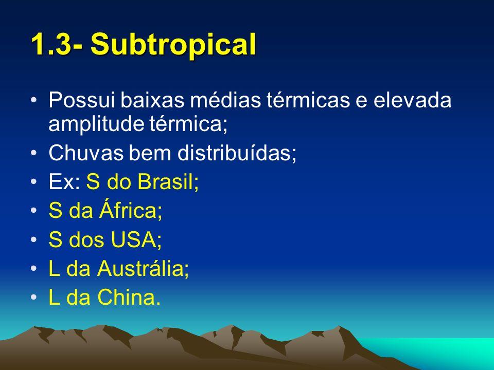 1.3- SubtropicalPossui baixas médias térmicas e elevada amplitude térmica; Chuvas bem distribuídas;