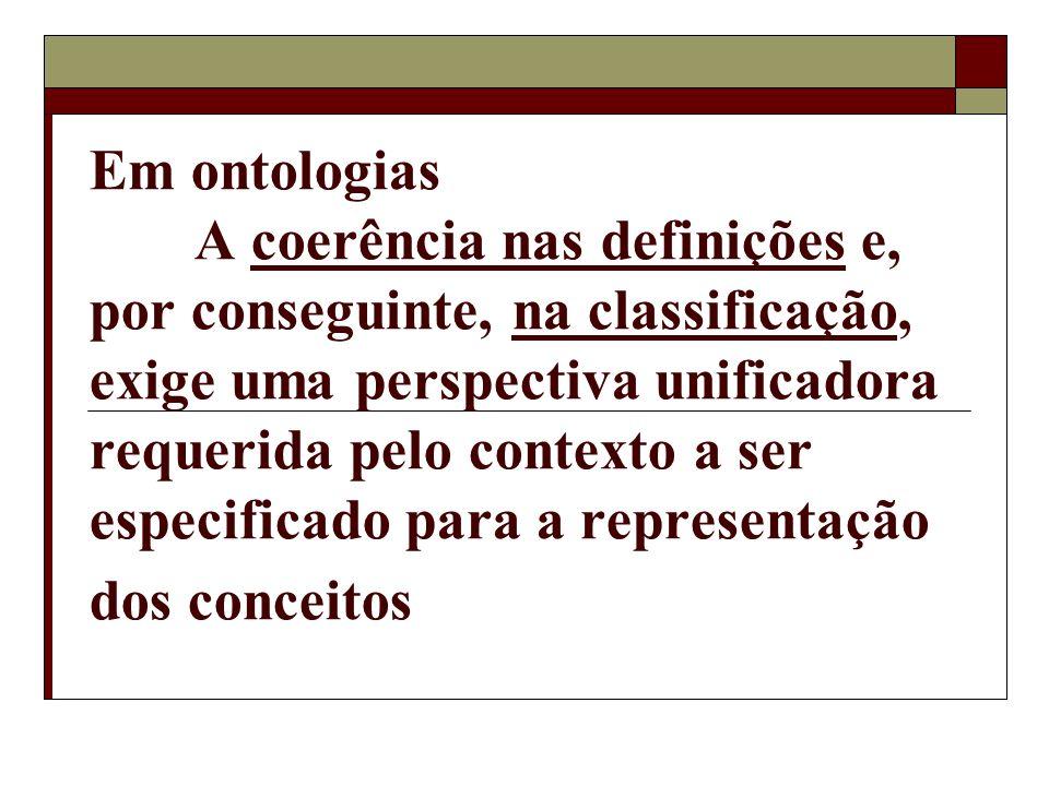 Em ontologias A coerência nas definições e, por conseguinte, na classificação, exige uma perspectiva unificadora requerida pelo contexto a ser especificado para a representação dos conceitos