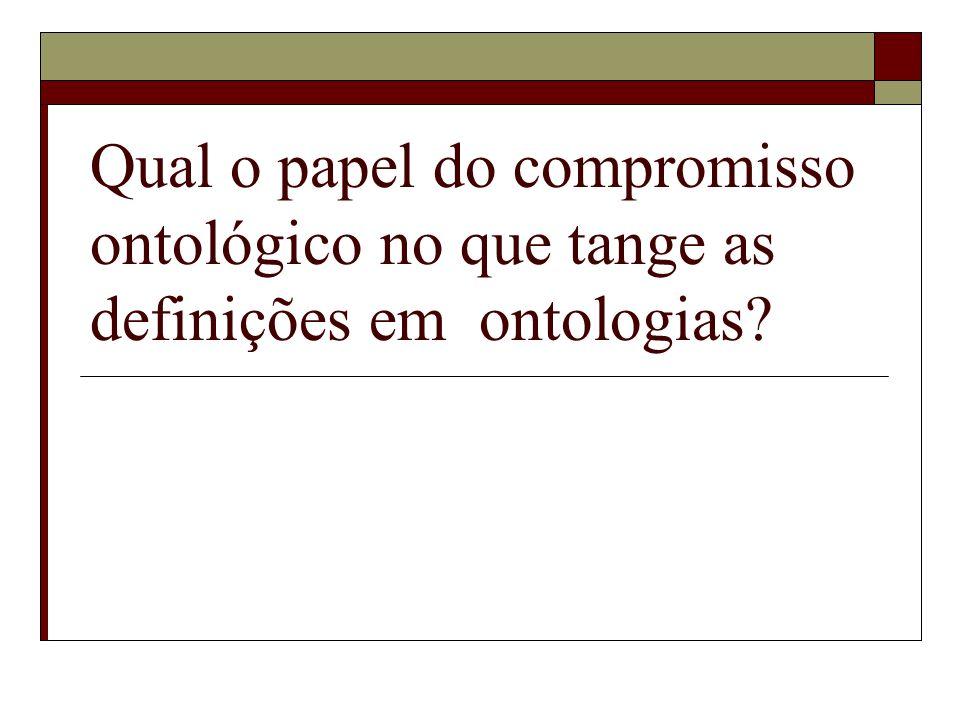 Qual o papel do compromisso ontológico no que tange as definições em ontologias