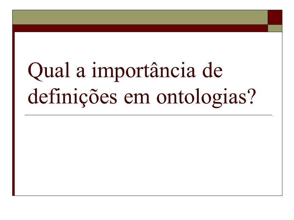 Qual a importância de definições em ontologias