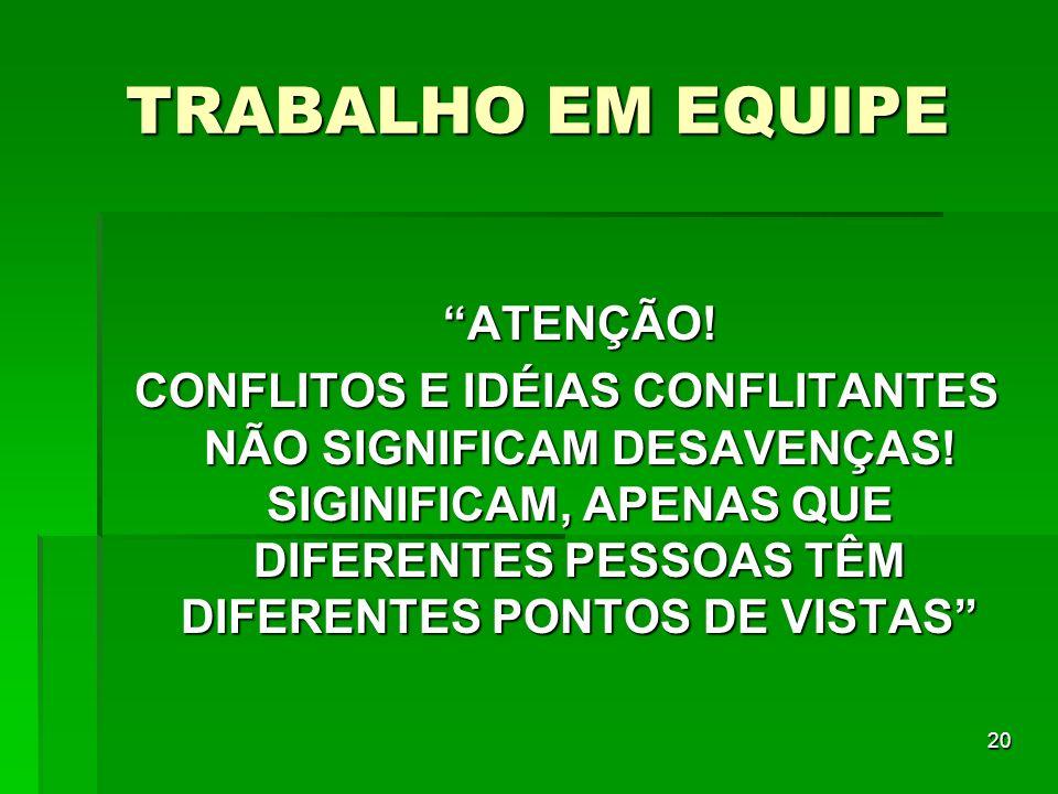 TRABALHO EM EQUIPE ATENÇÃO!
