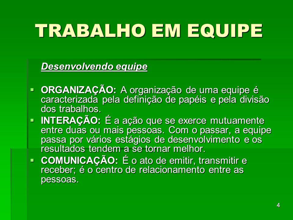 TRABALHO EM EQUIPE Desenvolvendo equipe
