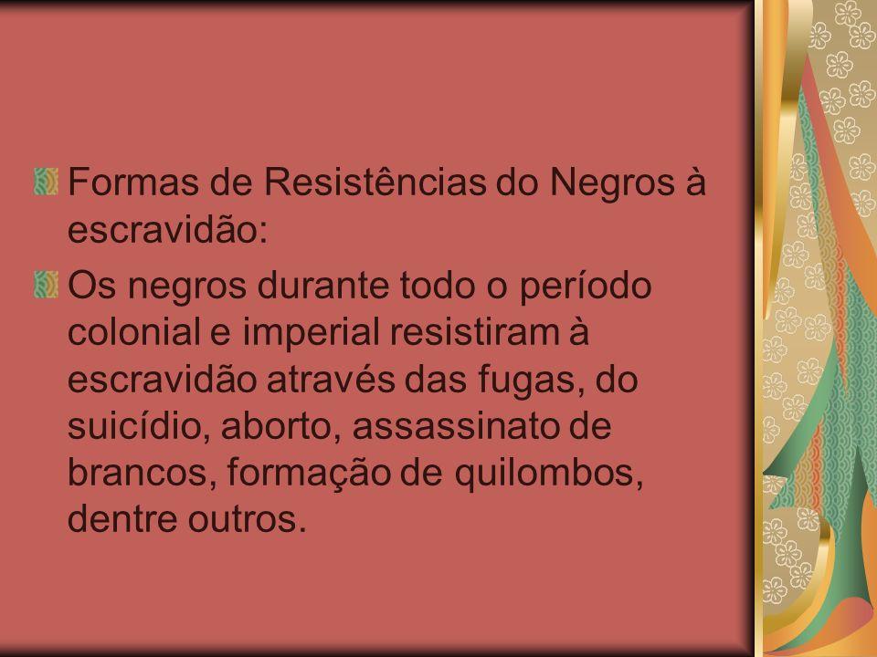 Formas de Resistências do Negros à escravidão: