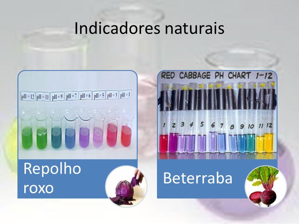 Indicadores naturais Repolho roxo Beterraba