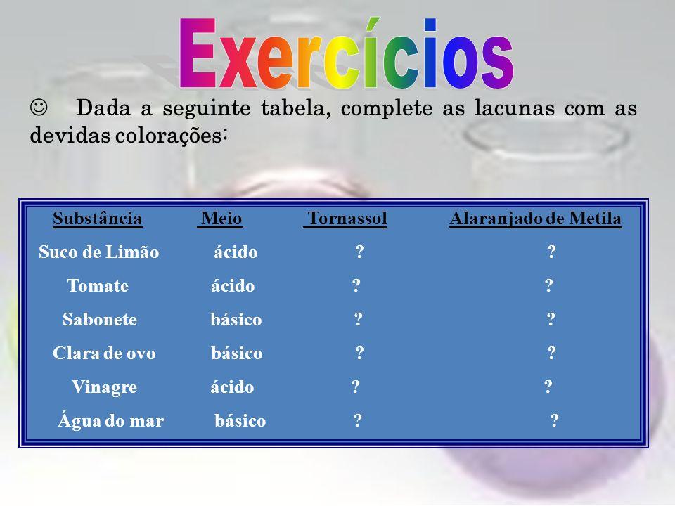 Exercícios  Dada a seguinte tabela, complete as lacunas com as devidas colorações: