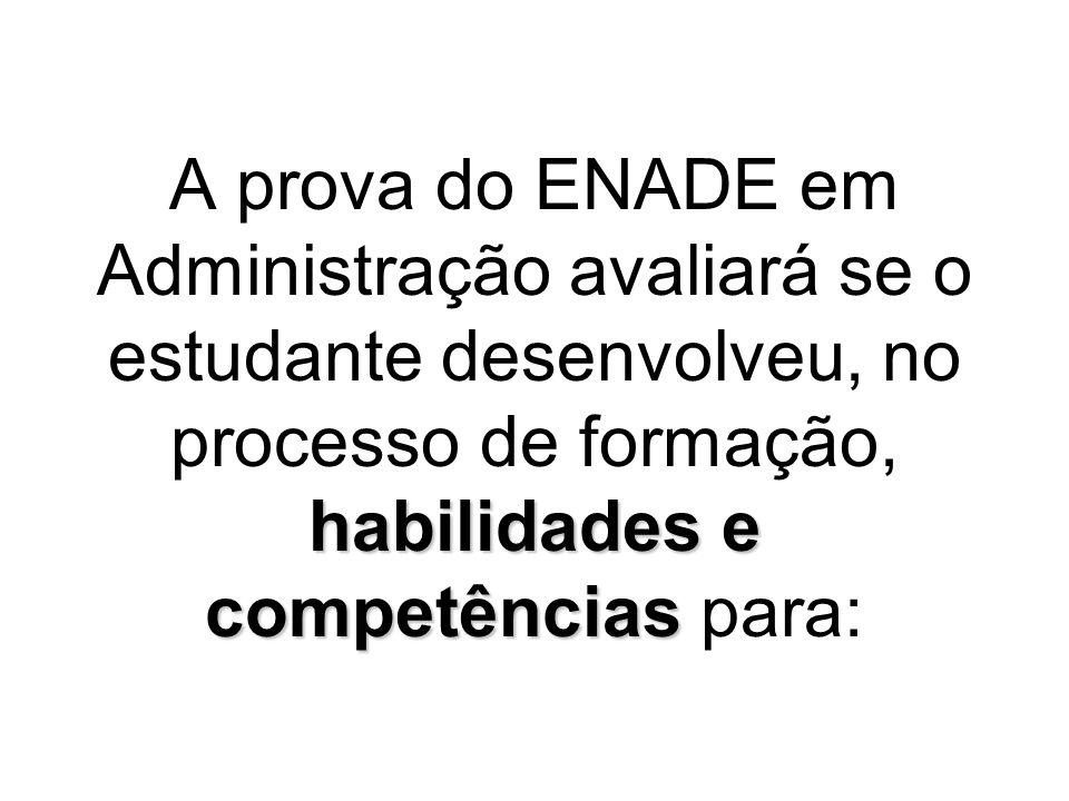 A prova do ENADE em Administração avaliará se o estudante desenvolveu, no processo de formação, habilidades e competências para: