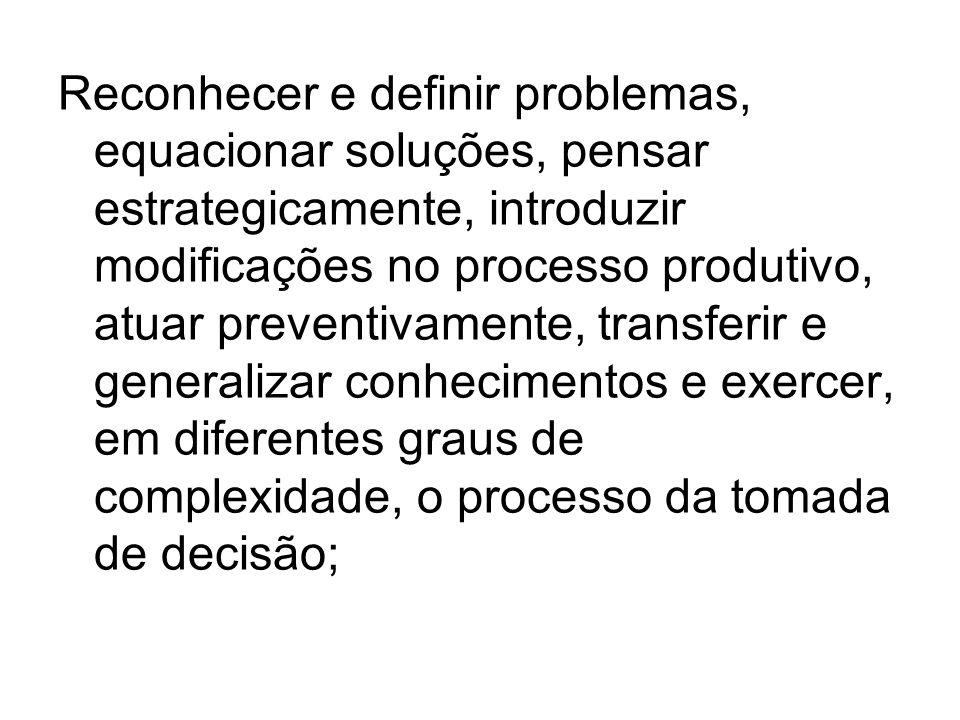 Reconhecer e definir problemas, equacionar soluções, pensar estrategicamente, introduzir modificações no processo produtivo, atuar preventivamente, transferir e generalizar conhecimentos e exercer, em diferentes graus de complexidade, o processo da tomada de decisão;
