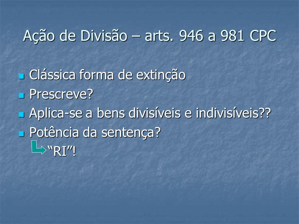 Ação de Divisão – arts. 946 a 981 CPC