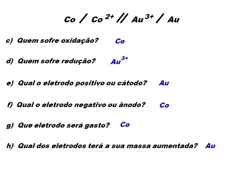 Co Co Au Au 2+ 3+ c) Quem sofre oxidação Co d) Quem sofre redução Au