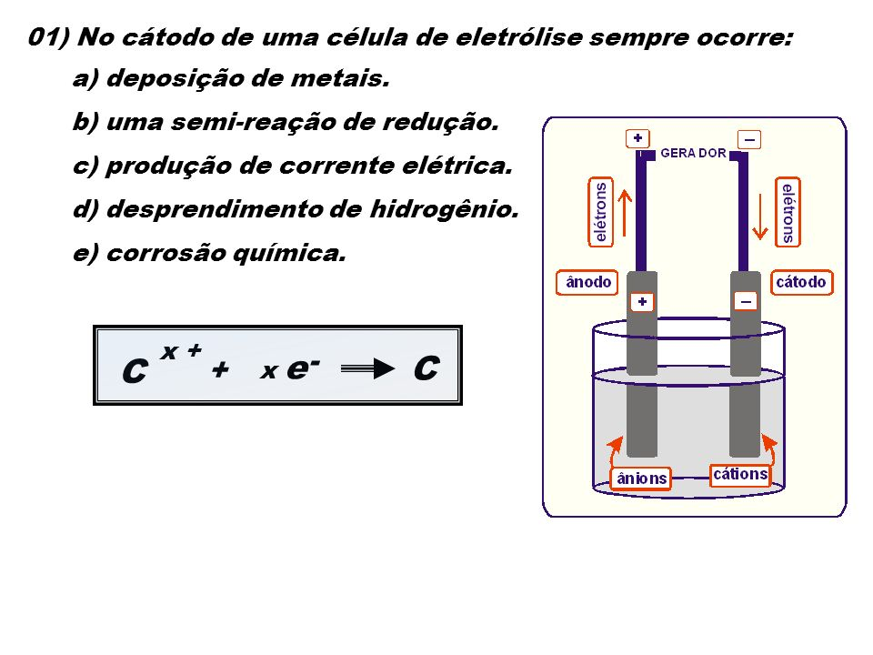 C C - + 01) No cátodo de uma célula de eletrólise sempre ocorre: