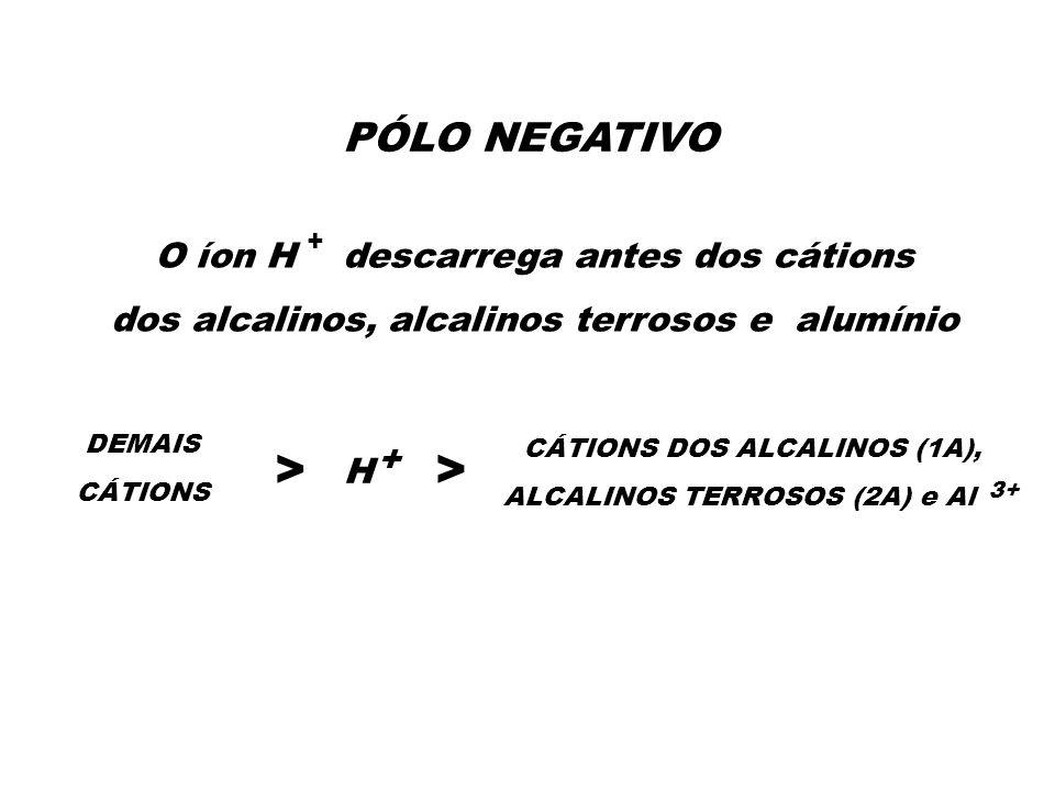 > > PÓLO NEGATIVO O íon H descarrega antes dos cátions