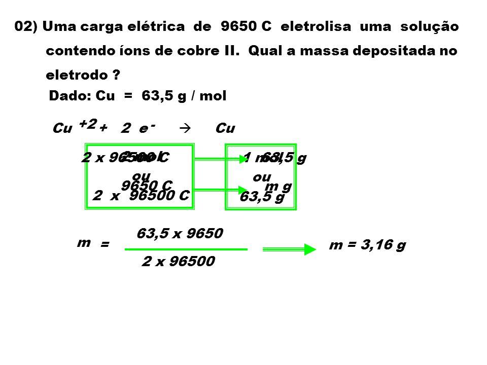 02) Uma carga elétrica de 9650 C eletrolisa uma solução