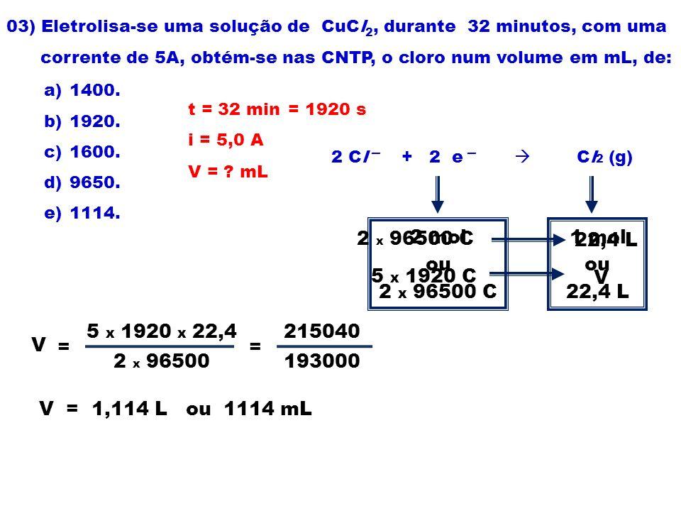 03) Eletrolisa-se uma solução de CuCl2, durante 32 minutos, com uma