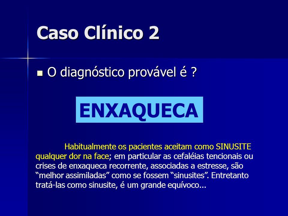 ENXAQUECA Caso Clínico 2 O diagnóstico provável é