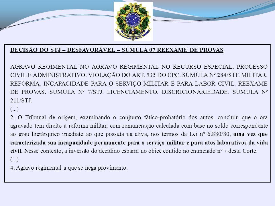 DECISÃO DO STJ – DESFAVORÁVEL – SÚMULA 07 REEXAME DE PROVAS