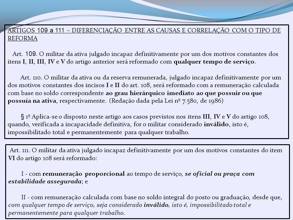 ARTIGOS 109 a 111 – DIFERENCIAÇÃO ENTRE AS CAUSAS E CORRELAÇÃO COM O TIPO DE REFORMA