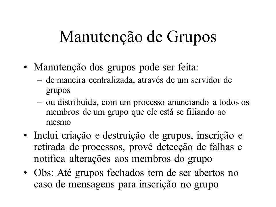 Manutenção de Grupos Manutenção dos grupos pode ser feita: