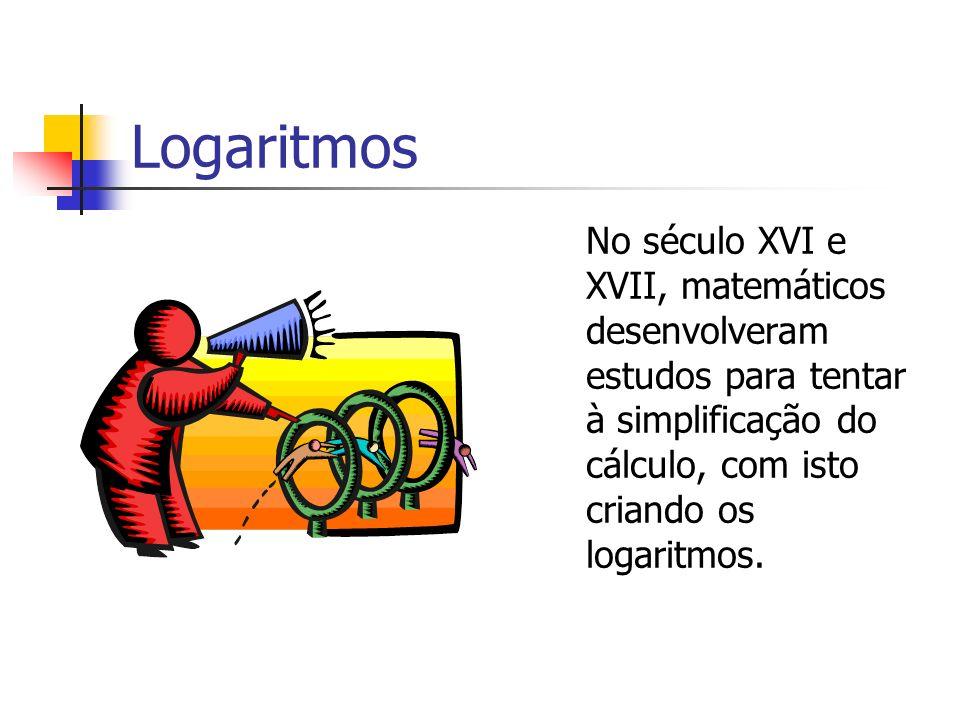 LogaritmosNo século XVI e XVII, matemáticos desenvolveram estudos para tentar à simplificação do cálculo, com isto criando os logaritmos.