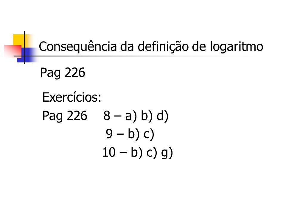 Consequência da definição de logaritmo