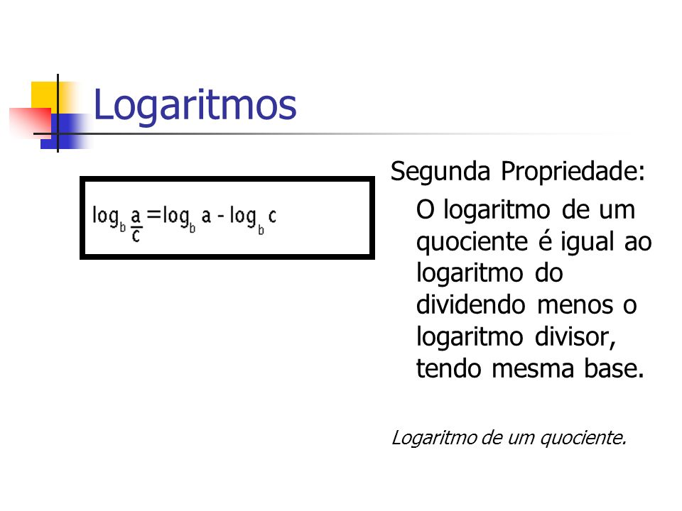 Logaritmos Segunda Propriedade: