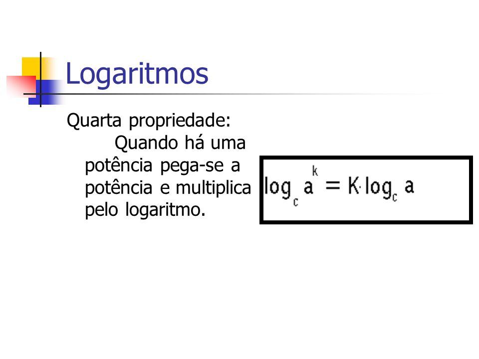 LogaritmosQuarta propriedade: Quando há uma potência pega-se a potência e multiplica pelo logaritmo.