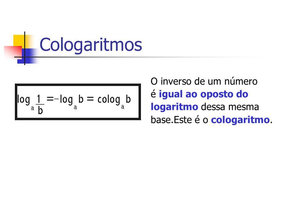Cologaritmos O inverso de um número é igual ao oposto do