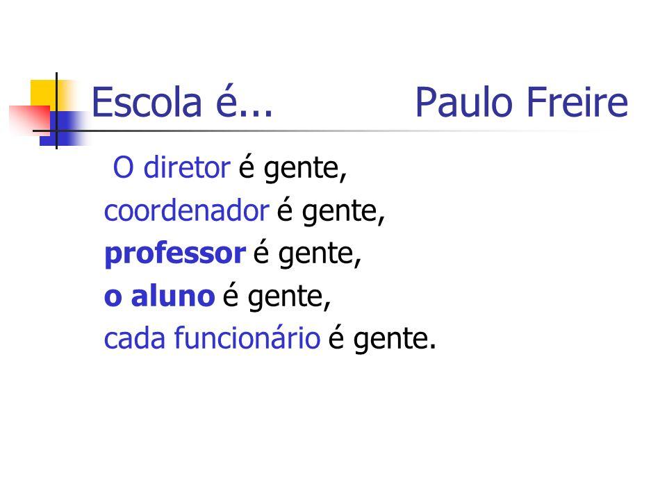 Escola é... Paulo Freire O diretor é gente, coordenador é gente,